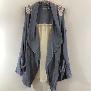 LOGO Knit Vest Lace Back Embroidered Details Sz M